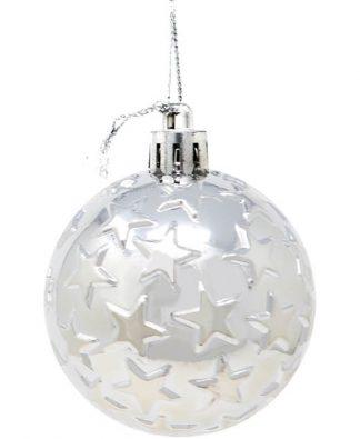 6 stk Metalliska Silverfärgade Julkulor med Stjärnor