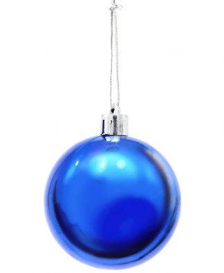 6 stk Metalliskt Blå Julkulor