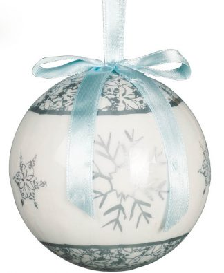 6 stk Vita Julkulor med Motiv av Snökristaller