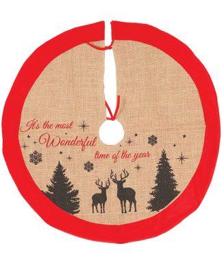 Beige Julgransmatta i Säckväv med Renmotiv och Röd Kant 85 cm