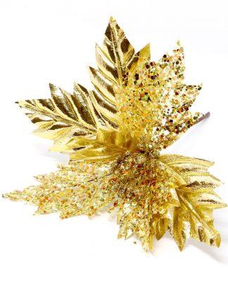 Guldfärgad Julblomma / Julstjärna Bordsdekoration