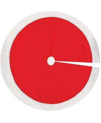 Röd Julgransmatta med Vit Kant och HELA 120 cm i Diameter