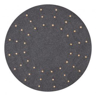 Julgransmatta Grå med LED-Stjärnor
